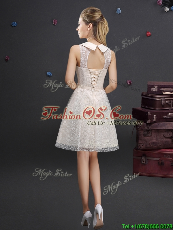 Classical See Through Turndown Applique Prom Dress in Lace
