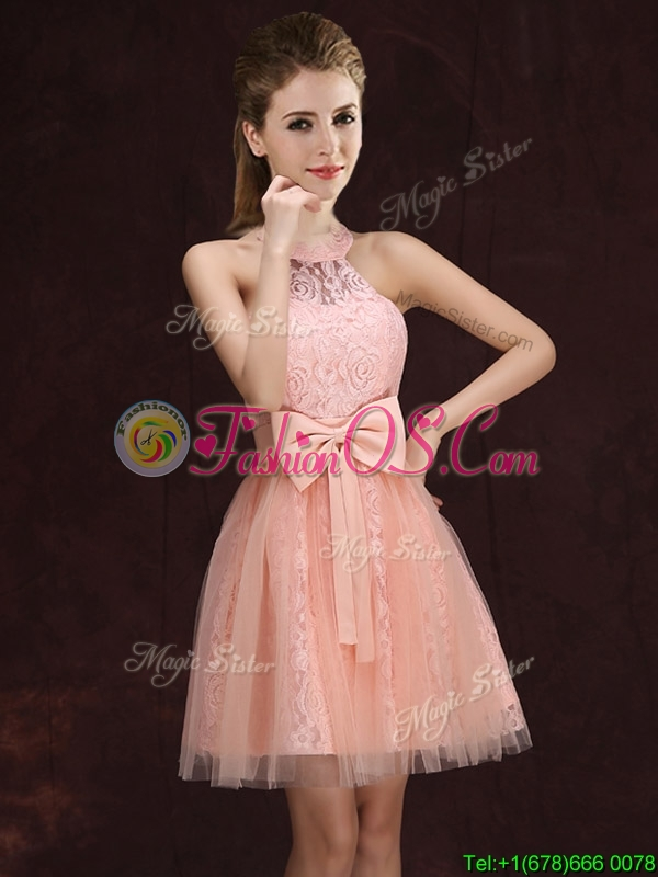 Elegant See Through Halter Top Bowknot and Laced Short Prom Dress