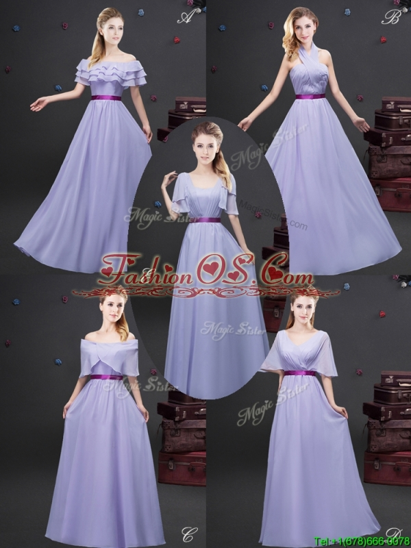 Exclusive Belted and Ruched Lavender Dama Dress with Half Sleeves