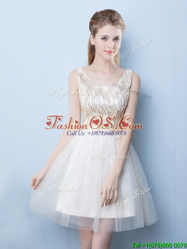 Latest A Line Sequined and Bowknot Dama Dress in Champagne