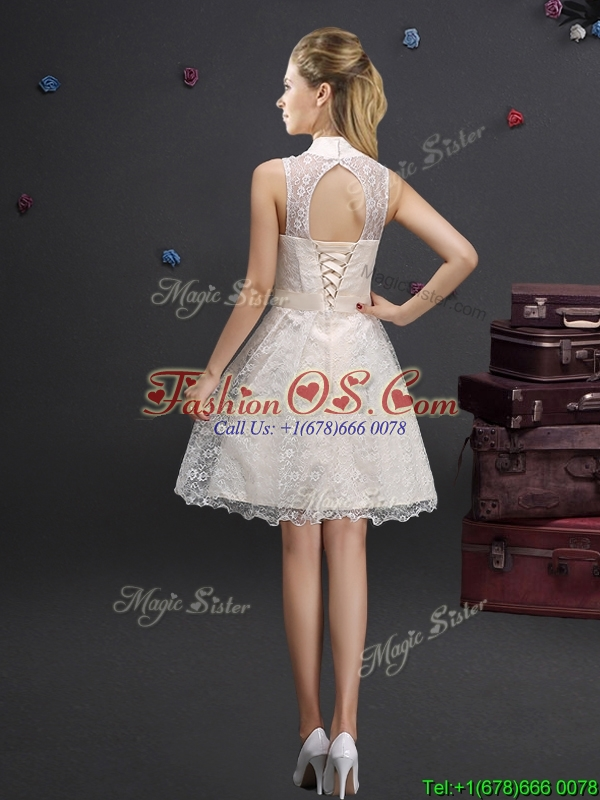 Luxurious Applique and Laced Champagne Dama Dress with High Neck