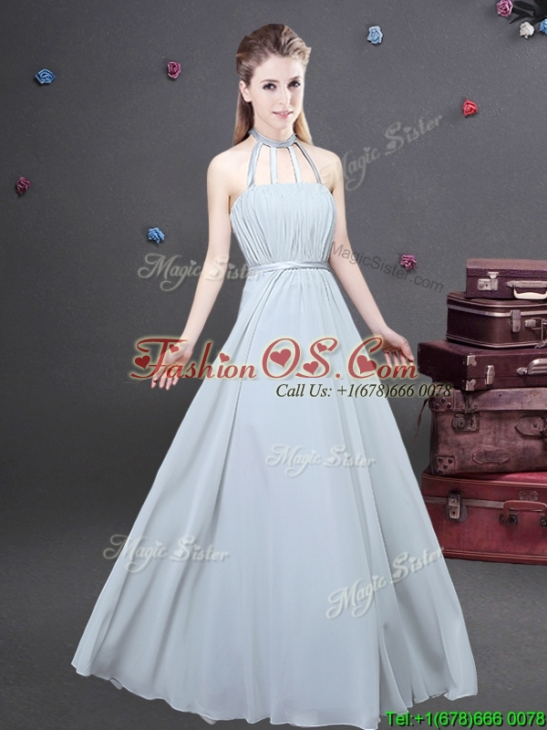 Most Popular Empire Grey Long Dama Dress in Chiffon