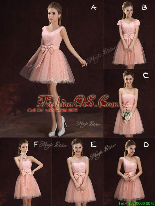 Most Popular V Neck Pink Dama Dress with Bowknot and Lace