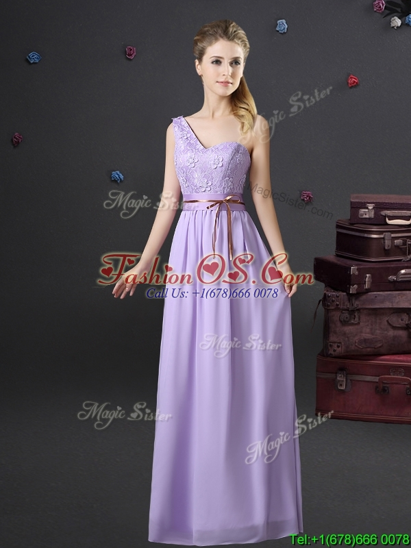 2017 Beautiful Belted and Applique Lavender Prom Dress with One Shoulder