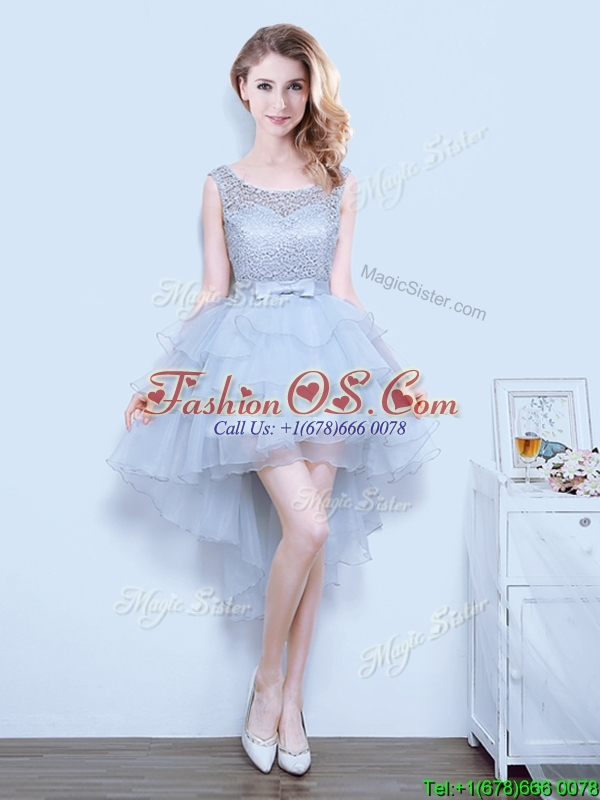 2017 Exclusive High Low Grey Prom Dress with Bowknot and Ruffled Layers
