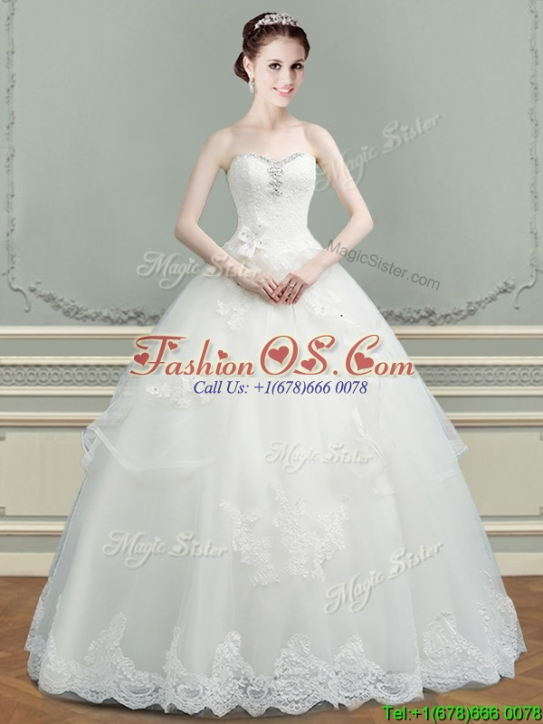 2016 Discount Tulle Beaded Top Wedding Dress with Appliques