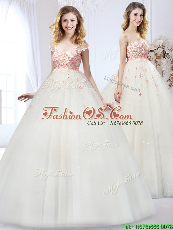 2016 Lovely Applique Wedding Dress with Detachable Straps