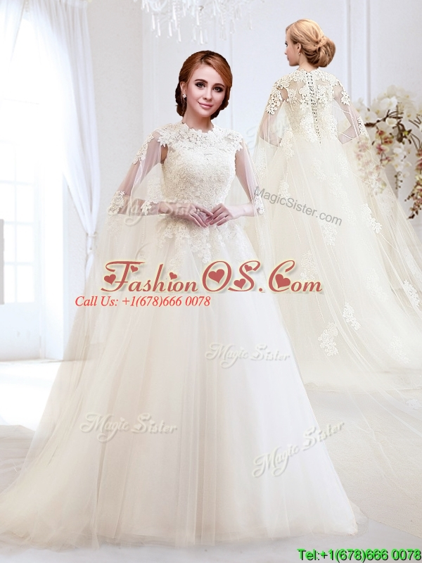 Beautiful A Line Brush Train Wedding Dress with Appliques for 2016