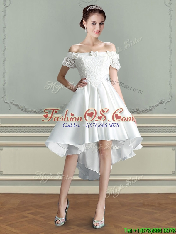 Best Bowknot and Laced Taffeta Wedding Dress with Off the Shoulder