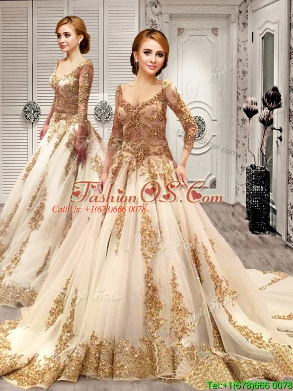 Court Train Applique and Sequined Wedding Dress with Deep V Neckline
