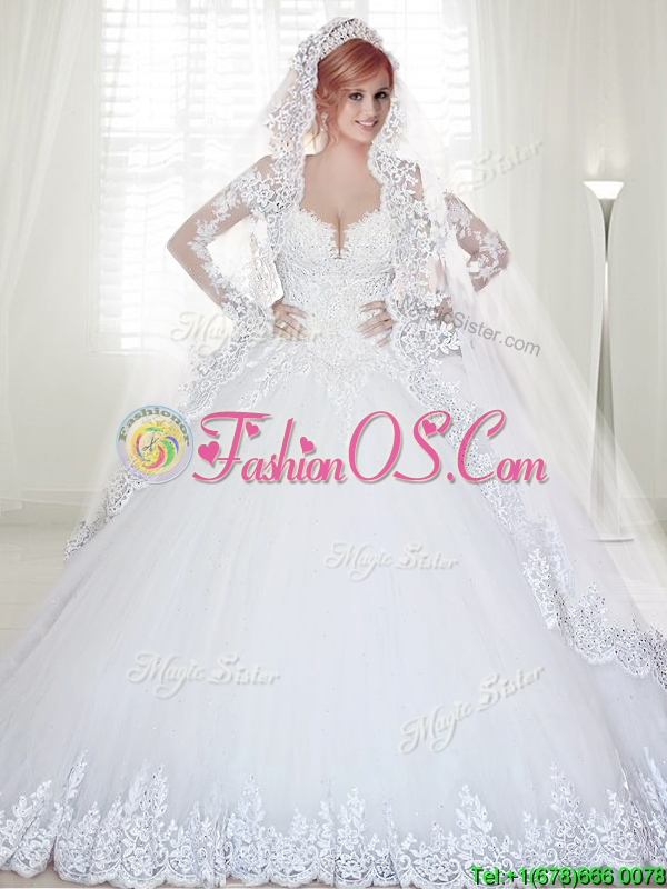 Elegant Chapel Train Long Sleeves Wedding Dress with Appliques and Beading