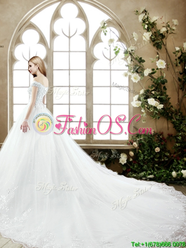 Elegant Off the Shoulder Beaded Wedding Dress with Court Train