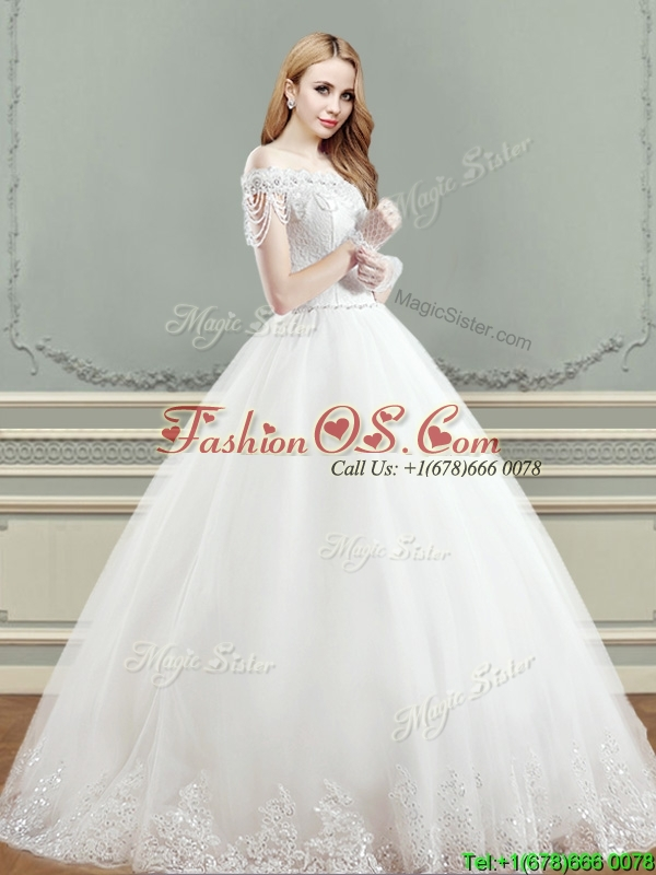 Elegant Puffy Skirt Applique Wedding Dress with Off the Shoulder