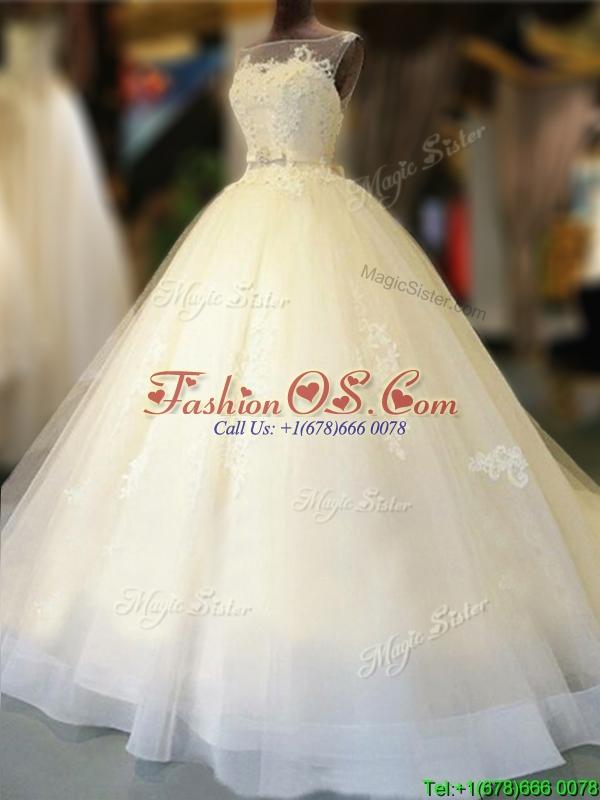 Gorgeous Bateau Open Back Bowknot Wedding Dress with Court Train