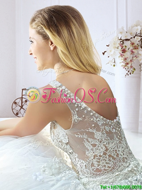 Gorgeous See Through Scoop Wedding Dress with Lace and Beading