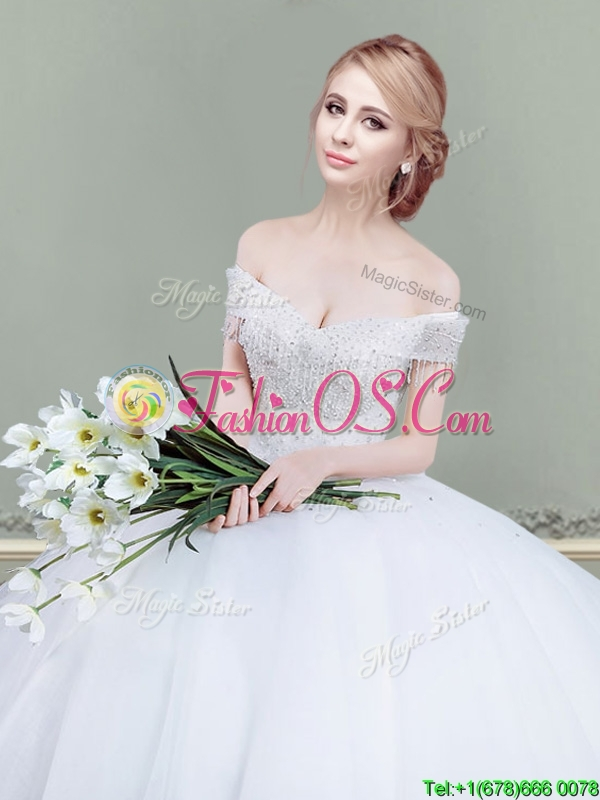 Hot Sale Big Puffy Off the Shoulder Wedding Dress with Beading