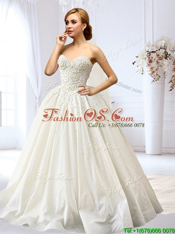Latest A Line Applique and Beaded Wedding Dress in Taffeta