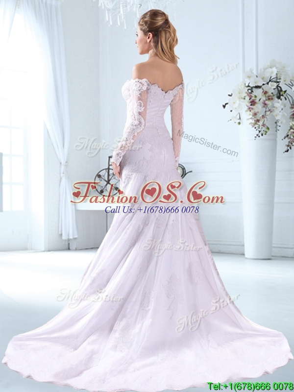 Lovely Off the Shoulder Brush Train Wedding Dress with Long Sleeves