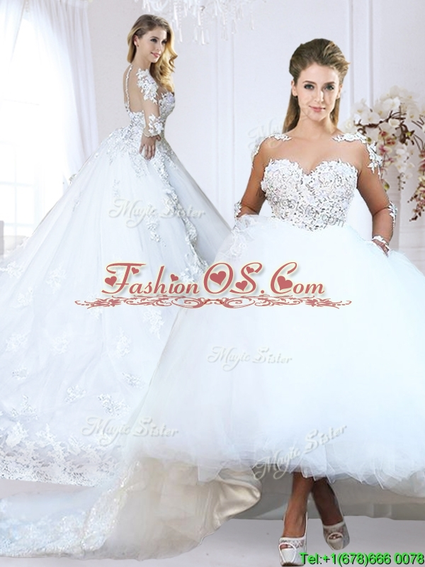 Luxurious See Through V Neck Applique Wedding Dress with Long Sleeves
