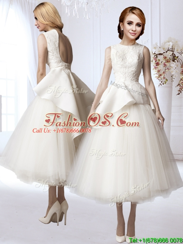 New Style A Line Backless Applique Wedding Dress in Tea Length