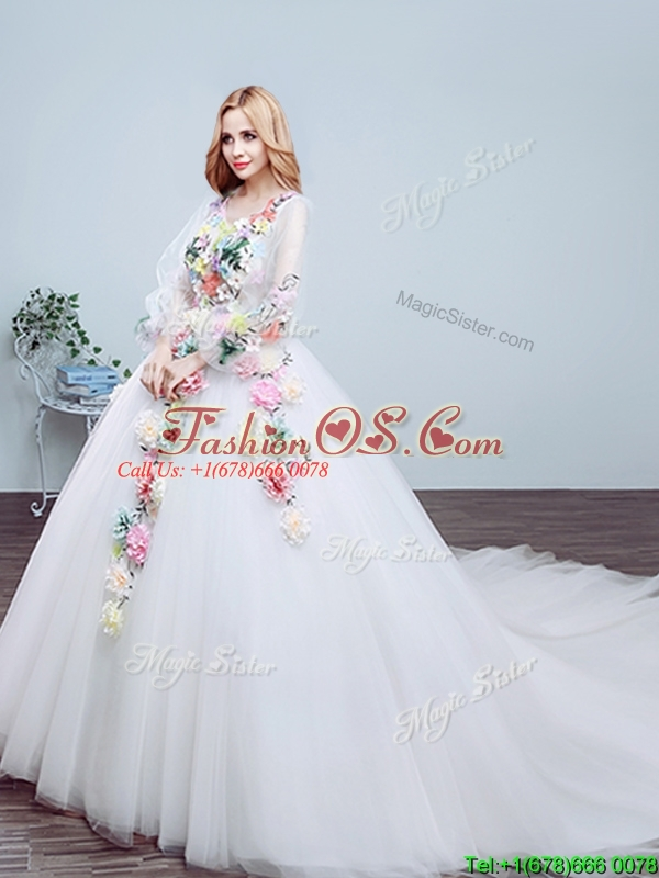 New Style V Neck Court Train Wedding Dress with Appliques and Hand Made Flowers