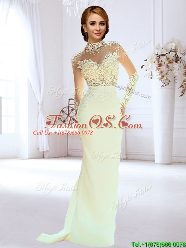 Popular Column Beaded and Laced Apple Green Wedding Dress with High Neck