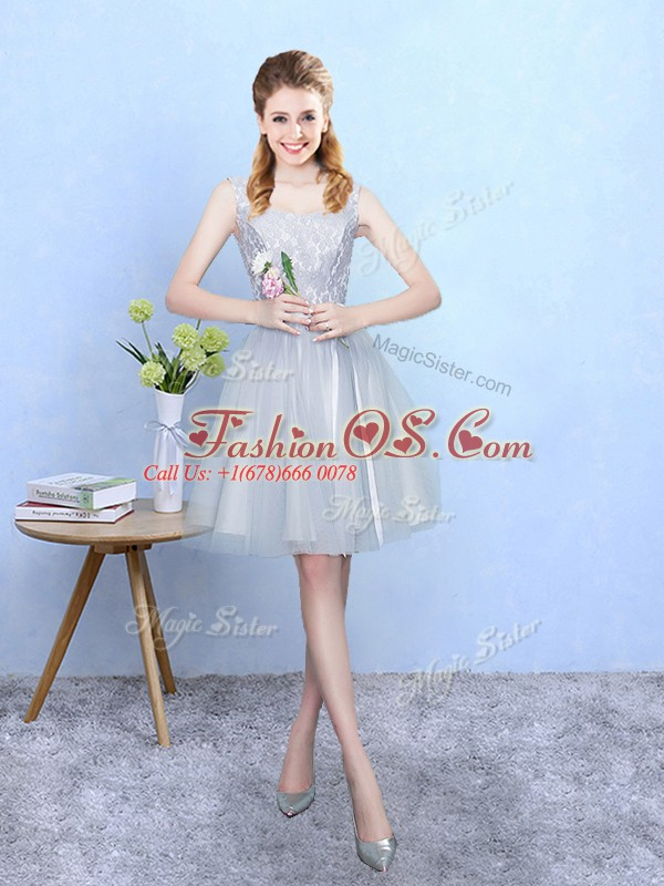 Deluxe Tulle Square Sleeveless Lace Up Lace Quinceanera Court of Honor Dress in Silver