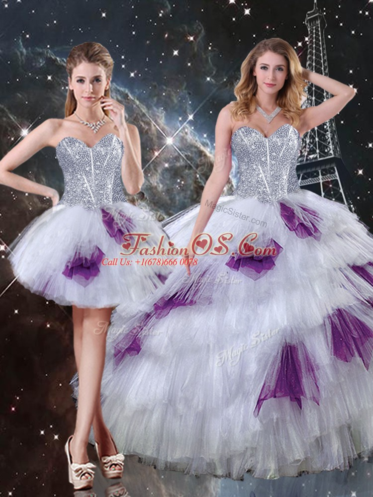 Multi-color Sleeveless Tulle Lace Up Quince Ball Gowns for Military Ball and Sweet 16 and Quinceanera