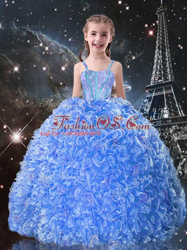 Custom Made Baby Blue Ball Gowns Organza Straps Sleeveless Beading and Ruffles Floor Length Lace Up Pageant Gowns For Girls