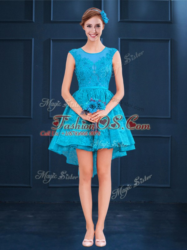 Modest Baby Blue Dama Dress for Quinceanera Wedding Party with Lace Scoop Sleeveless Lace Up