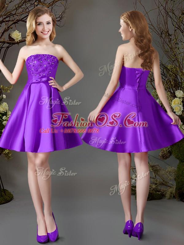 Elegant Eggplant Purple Satin Lace Up Strapless Sleeveless Mini Length Vestidos de Damas Beading