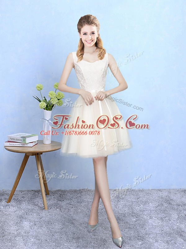 Colorful Empire Quinceanera Dama Dress Champagne Square Tulle Sleeveless Knee Length Lace Up