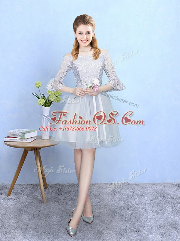 Stylish Silver Empire Tulle Off The Shoulder Half Sleeves Lace With Train Lace Up Dama Dress