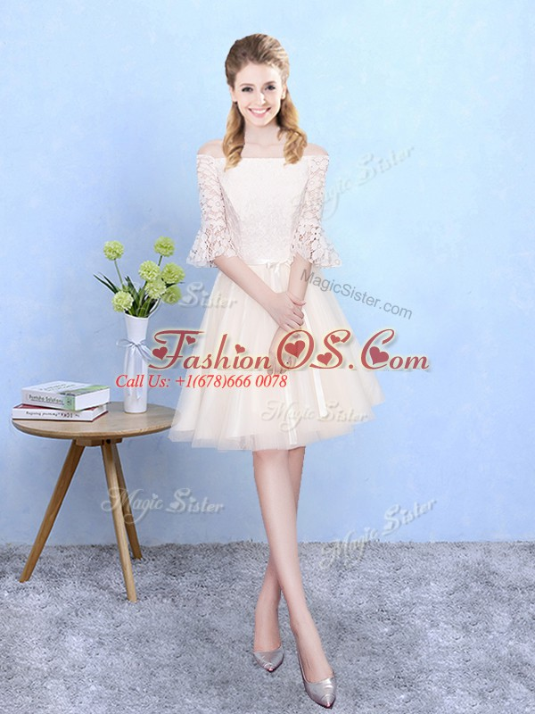 Champagne Dama Dress Wedding Party with Lace Off The Shoulder Half Sleeves Lace Up