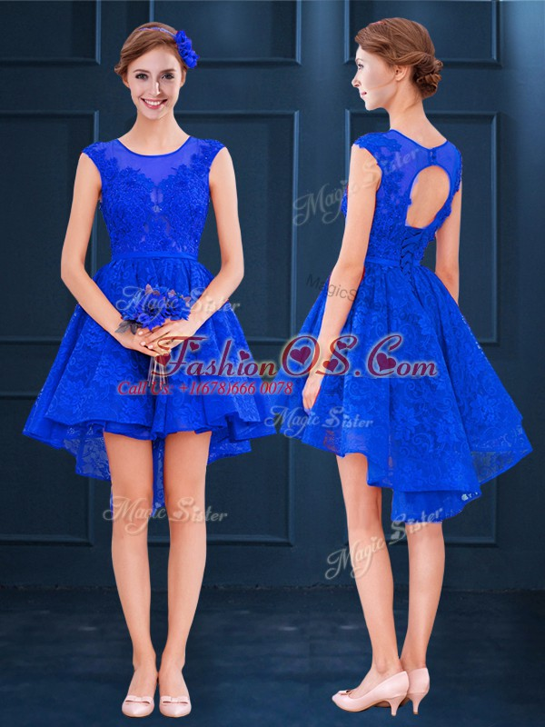 Comfortable Royal Blue Scoop Lace Up Lace and Belt Dama Dress Sleeveless