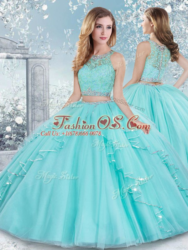 Custom Designed Aqua Blue Tulle Clasp Handle Scoop Sleeveless Floor Length Quinceanera Gowns Beading and Lace and Sashes ribbons