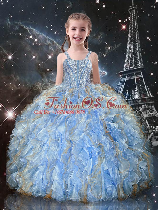 Nice Straps Sleeveless Organza Pageant Gowns For Girls Beading and Ruffles Lace Up