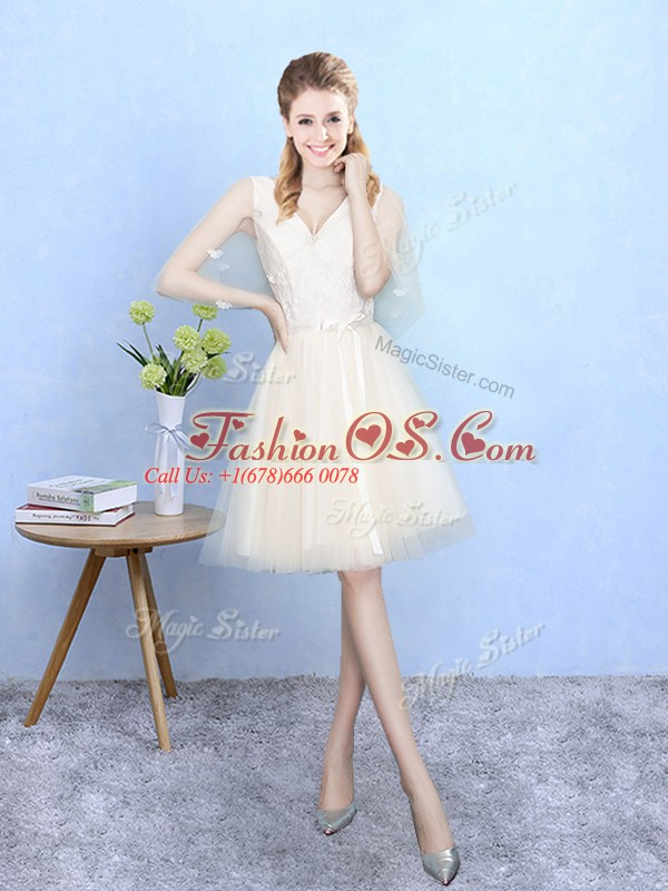 Flirting Champagne Lace Up Quinceanera Court Dresses Lace Half Sleeves Knee Length