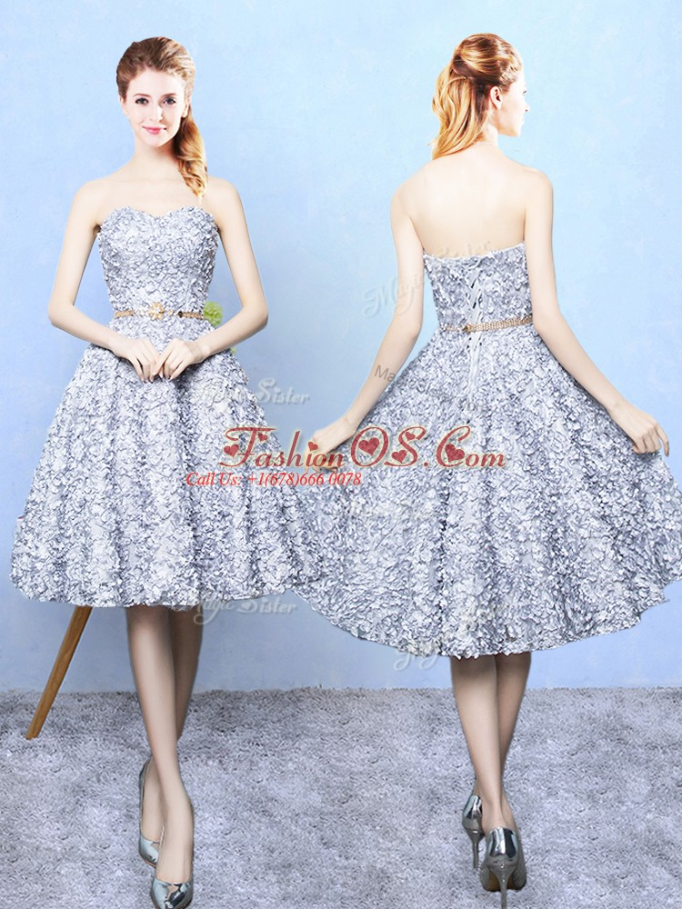 Edgy Belt Court Dresses for Sweet 16 Grey Lace Up Sleeveless Knee Length