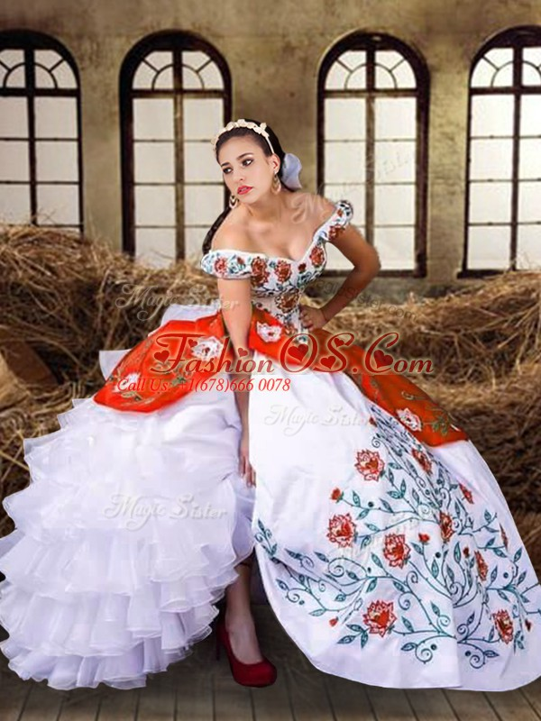 Cute Floor Length Lace Up Ball Gown Prom Dress Multi-color for Military Ball and Sweet 16 and Quinceanera with Embroidery and Ruffled Layers