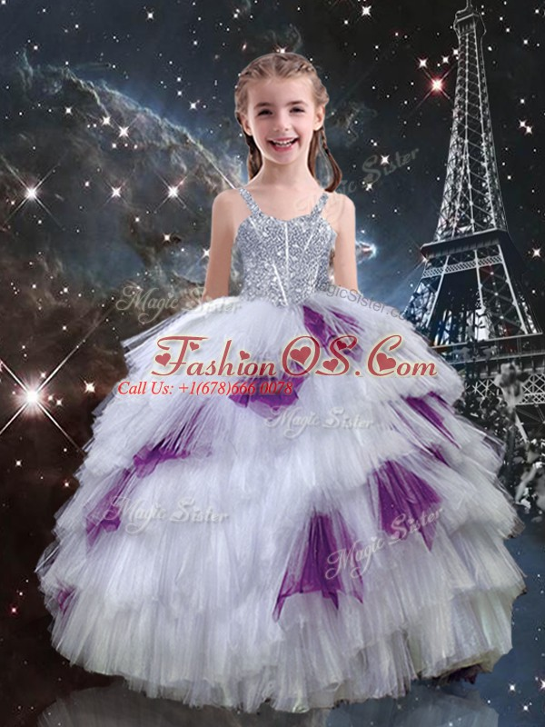 New Arrival White Sleeveless Tulle Lace Up Child Pageant Dress for Quinceanera and Wedding Party