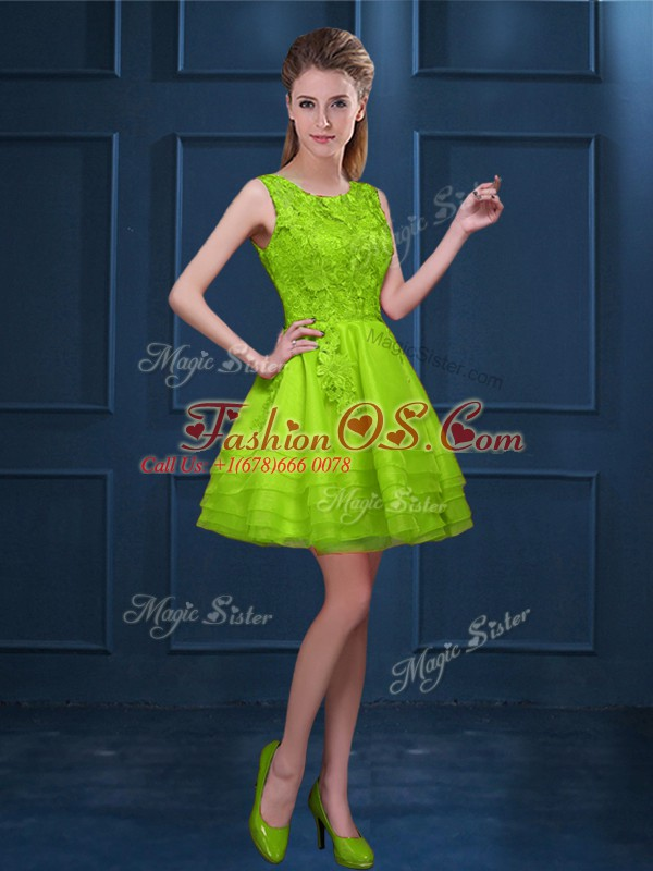 Green Tulle Zipper Bridesmaid Gown Sleeveless Knee Length Lace and Ruffled Layers