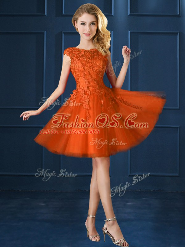 Custom Designed Orange Red Cap Sleeves Knee Length Lace and Belt Lace Up Bridesmaid Gown