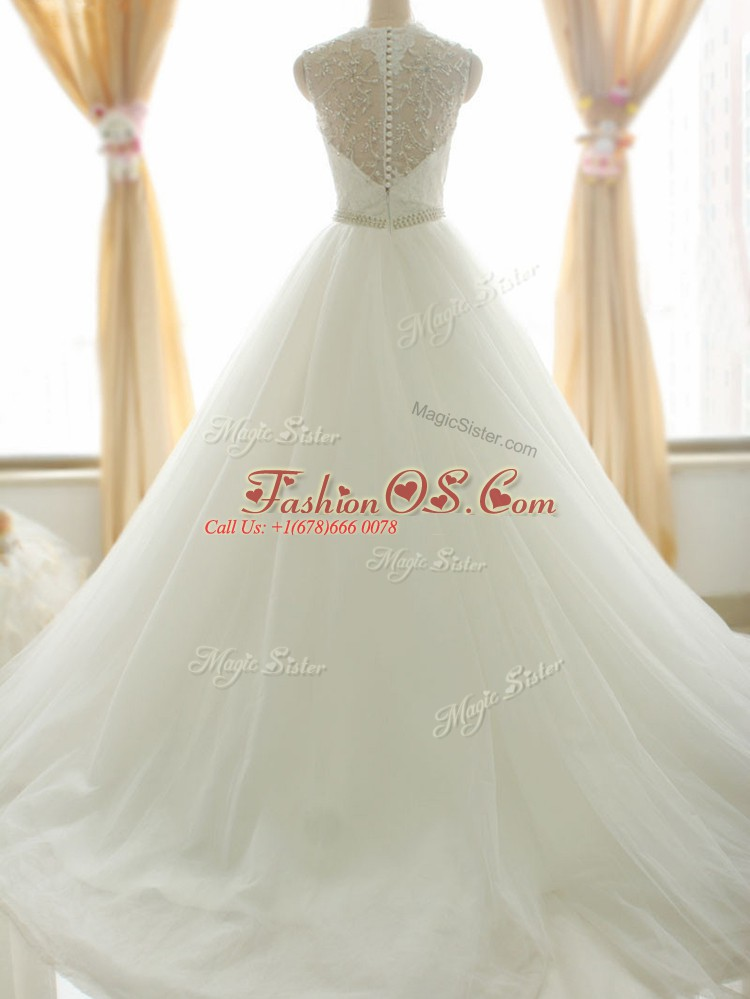 Delicate White A-line V-neck Sleeveless Tulle Brush Train Zipper Beading and Appliques Wedding Gowns