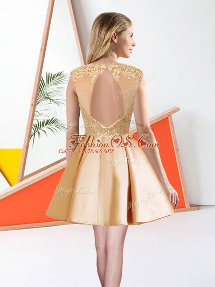 Smart Apple Green Taffeta Backless Dama Dress Sleeveless Knee Length Beading and Lace