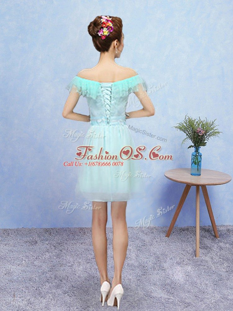 Aqua Blue Lace Up Off The Shoulder Lace Quinceanera Court of Honor Dress Tulle Cap Sleeves