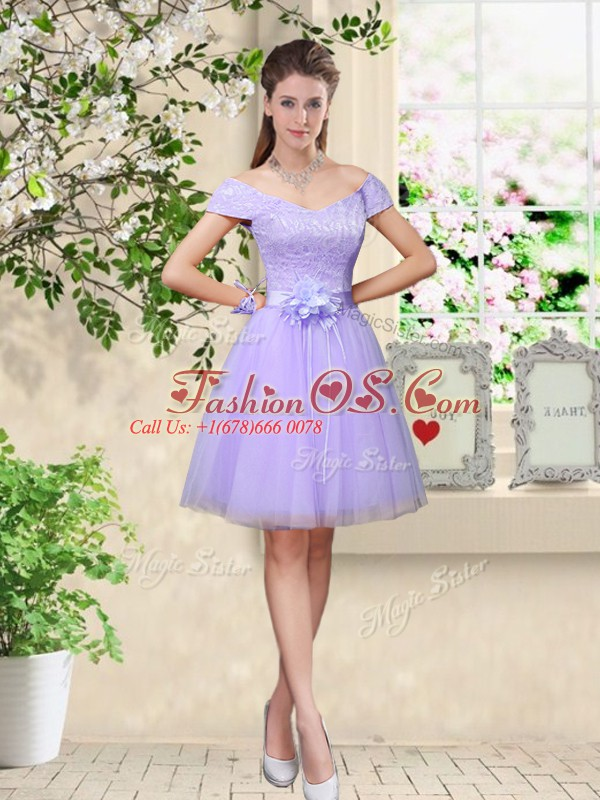 Fantastic Cap Sleeves Lace and Belt Lace Up Bridesmaid Dresses