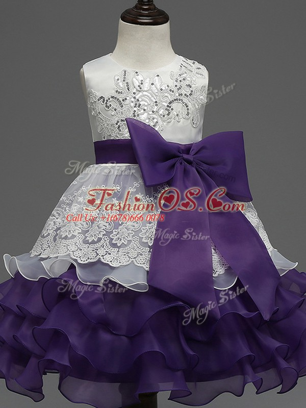 White And Purple Zipper Pageant Gowns For Girls Lace and Ruffled Layers and Bowknot Sleeveless Tea Length