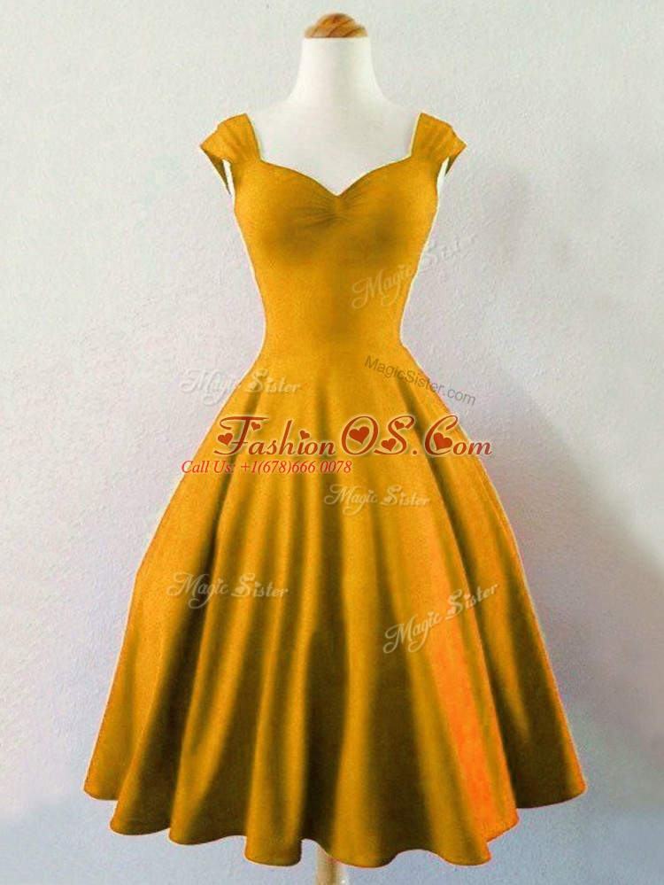 Sophisticated Mini Length Gold Bridesmaids Dress Taffeta Sleeveless Ruching
