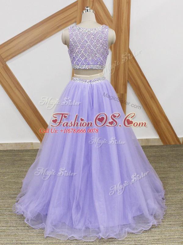 Lavender Tulle Side Zipper Scoop Sleeveless Floor Length Celebrity Dress Beading
